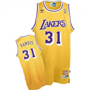 Los Angeles Lakers Mitchell and Ness Kurt Rambis #31 Throwback Swingman Maillot d'équipe de NBA - Or pour Homme