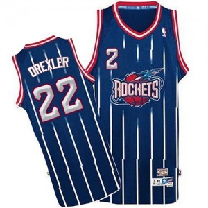 Maillot Authentic Houston Rockets NBA Throwback Bleu marin - #22 Clyde Drexler - Homme