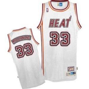 Maillot NBA Miami Heat #33 Alonzo Mourning Blanc Adidas Authentic Throwback - Homme
