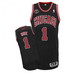 Maillot NBA Chicago Bulls #1 Derrick Rose Noir Adidas Authentic Alternate 20TH Anniversary - Homme
