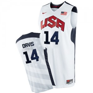 Maillot NBA Team USA #14 Anthony Davis Blanc Nike Authentic 2012 Olympics - Homme