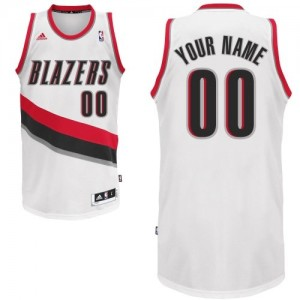 Maillot NBA Portland Trail Blazers Personnalisé Swingman Blanc Adidas Home - Homme