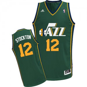 Maillot NBA Vert John Stockton #12 Utah Jazz Alternate Swingman Homme Adidas