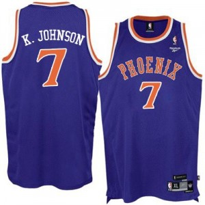Maillot NBA Violet Kevin Johnson #7 Phoenix Suns New Throwback Authentic Homme Adidas