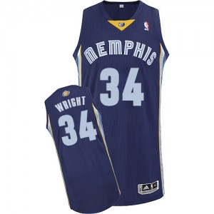 Maillot Adidas Bleu marin Road Authentic Memphis Grizzlies - Brandan Wright #34 - Homme