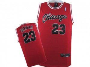 Maillot NBA Authentic Michael Jordan #23 Chicago Bulls Throwback Crabbed Typeface Rouge - Homme
