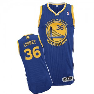 Maillot NBA Golden State Warriors #36 Kevon Looney Bleu royal Adidas Authentic Road - Homme