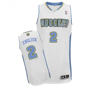 Denver Nuggets Alex English #2 Home Authentic Maillot d'équipe de NBA - Blanc pour Homme