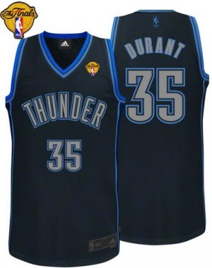 Maillot NBA Authentic Kevin Durant #35 Oklahoma City Thunder Graystone Fashion Finals Patch Noir - Homme