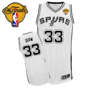 Maillot Authentic San Antonio Spurs NBA Home Finals Patch Blanc - #33 Boris Diaw - Homme