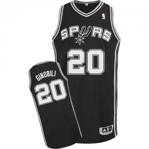 Maillot NBA Authentic Manu Ginobili #20 San Antonio Spurs Road Noir - Homme