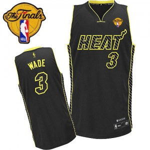 Maillot Adidas Noir Electricity Fashion Finals Patch Authentic Miami Heat - Dwyane Wade #3 - Homme