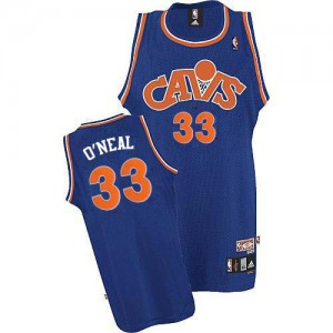 Maillot NBA Cleveland Cavaliers #33 Shaquille O'Neal Bleu Mitchell and Ness Authentic CAVS Throwback - Homme