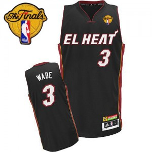 Maillot Adidas Noir Latin Nights Finals Patch Authentic Miami Heat - Dwyane Wade #3 - Homme
