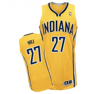 Maillot NBA Or Jordan Hill #27 Indiana Pacers Alternate Authentic Homme Adidas