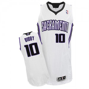 Maillot NBA Sacramento Kings #10 Mike Bibby Blanc Adidas Authentic Home - Homme