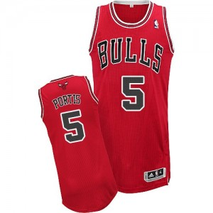 Maillot NBA Chicago Bulls #5 Bobby Portis Rouge Adidas Authentic Road - Homme