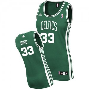 Maillot NBA Vert (No Blanc) Larry Bird #33 Boston Celtics Road Swingman Femme Adidas