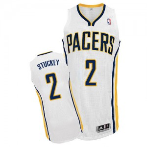 Indiana Pacers #2 Adidas Home Blanc Authentic Maillot d'équipe de NBA Promotions - Rodney Stuckey pour Homme