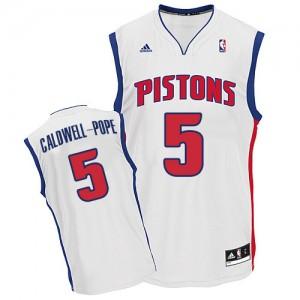 Detroit Pistons #5 Adidas Home Blanc Swingman Maillot d'équipe de NBA Vente - Kentavious Caldwell-Pope pour Homme