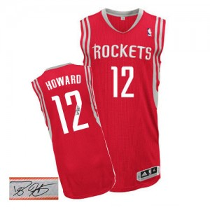 Maillot Adidas Rouge Road Autographed Authentic Houston Rockets - Dwight Howard #12 - Homme