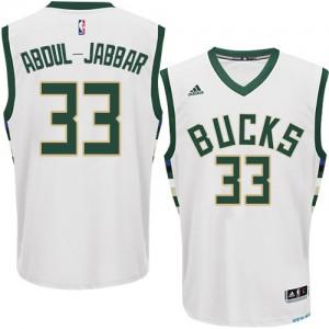 Maillot NBA Milwaukee Bucks #33 Kareem Abdul-Jabbar Blanc Adidas Swingman Home - Homme
