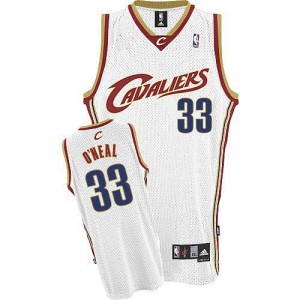 Maillot NBA Cleveland Cavaliers #33 Shaquille O'Neal Blanc Adidas Authentic Throwback - Homme