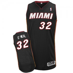 Maillot Adidas Noir Road Authentic Miami Heat - Shaquille O'Neal #32 - Homme