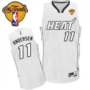 Maillot NBA Blanc Chris Andersen #11 Miami Heat Finals Patch Authentic Homme Adidas