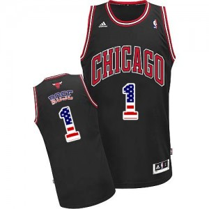Maillot NBA Noir Derrick Rose #1 Chicago Bulls USA Flag Fashion Authentic Homme Adidas