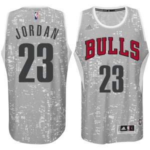 Chicago Bulls Michael Jordan #23 City Light Authentic Maillot d'équipe de NBA - Gris pour Homme