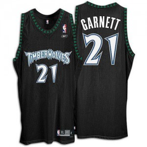 Maillot NBA Noir Kevin Garnett #21 Minnesota Timberwolves Throwback Authentic Homme