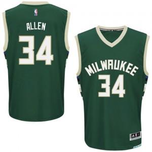 Maillot NBA Vert Ray Allen #34 Milwaukee Bucks Road Authentic Homme Adidas