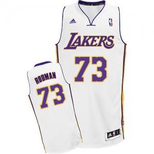 Maillot NBA Los Angeles Lakers #73 Dennis Rodman Blanc Adidas Swingman Alternate - Homme