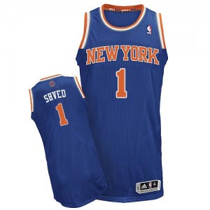 New York Knicks Alexey Shved #1 Road Authentic Maillot d'équipe de NBA - Bleu royal pour Homme