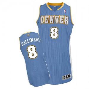 Denver Nuggets Danilo Gallinari #8 Road Authentic Maillot d'équipe de NBA - Bleu clair pour Homme