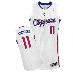 Maillot NBA Los Angeles Clippers #11 Jamal Crawford Blanc Adidas Authentic Home - Homme