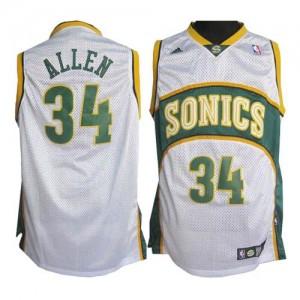 Oklahoma City Thunder #34 Adidas SuperSonics Blanc Swingman Maillot d'équipe de NBA Vente - Ray Allen pour Homme