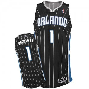 Maillot NBA Orlando Magic #1 Penny Hardaway Noir Adidas Authentic Alternate - Homme