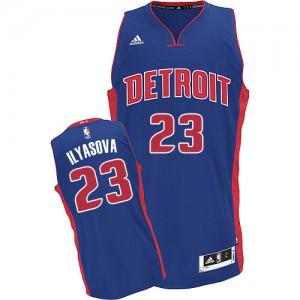 Maillot NBA Bleu royal Ersan Ilyasova #23 Detroit Pistons Road Swingman Homme Adidas