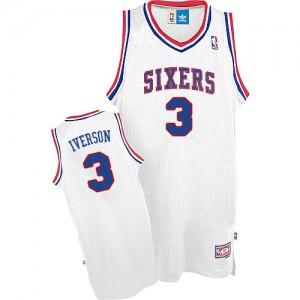 Philadelphia 76ers #3 Adidas Throwack Blanc Authentic Maillot d'équipe de NBA Vente - Allen Iverson pour Homme
