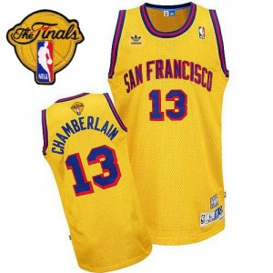 Golden State Warriors #13 Adidas Throwback San Francisco 2015 The Finals Patch Or Authentic Maillot d'équipe de NBA en soldes - Wilt Chamberlain pour Homme