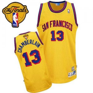 Maillot Swingman Golden State Warriors NBA Throwback San Francisco Day 2015 The Finals Patch Or - #13 Wilt Chamberlain - Homme