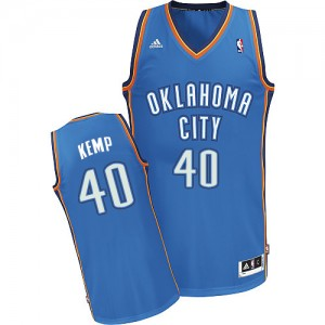 Oklahoma City Thunder Shawn Kemp #40 Road Swingman Maillot d'équipe de NBA - Bleu royal pour Homme