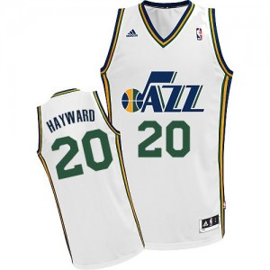 Maillot NBA Utah Jazz #20 Gordon Hayward Blanc Adidas Swingman Home - Homme