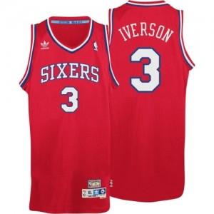 Philadelphia 76ers #3 Adidas Throwack Rouge Swingman Maillot d'équipe de NBA Braderie - Allen Iverson pour Homme