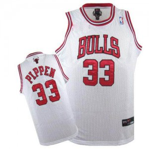 Maillot NBA Chicago Bulls #33 Scottie Pippen Blanc Nike Authentic - Homme