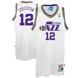 Maillot NBA Blanc John Stockton #12 Utah Jazz Throwback Authentic Homme Adidas