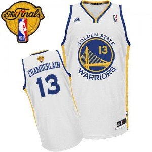 Maillot Swingman Golden State Warriors NBA Home 2015 The Finals Patch Blanc - #13 Wilt Chamberlain - Homme