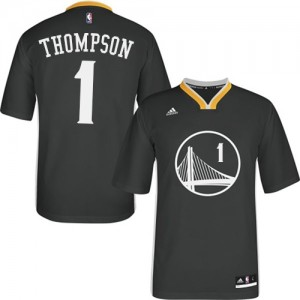 Maillot NBA Golden State Warriors #1 Jason Thompson Noir Adidas Authentic Alternate - Homme